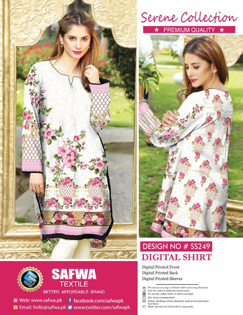 SS-249 - SAFWA PREMIUM LAWN - SERENE COLLECTION - DIGITAL  - SHIRTS