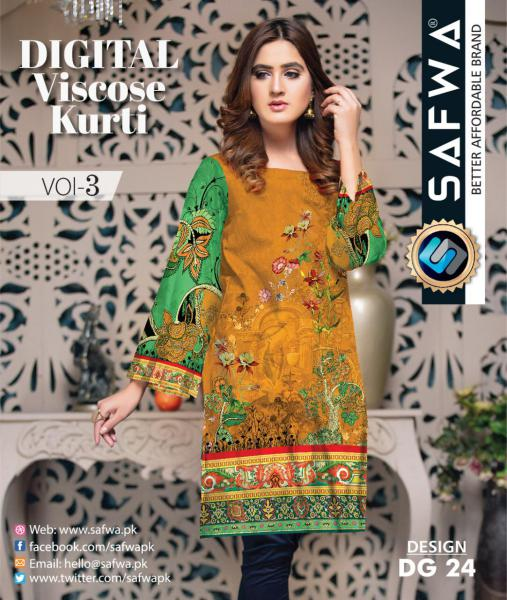 DG-24 - SAFWA - DIGITAL SHIRT - KURTI - VISCOSE KAMEEZ -SAFWA DRESS DESIGN, DRESSES, PAKISTANI DRESSES,-Shirt-Kurti-SAFWA Textile -SAFWA Brand Pakistan online shopping for Designer Dresses