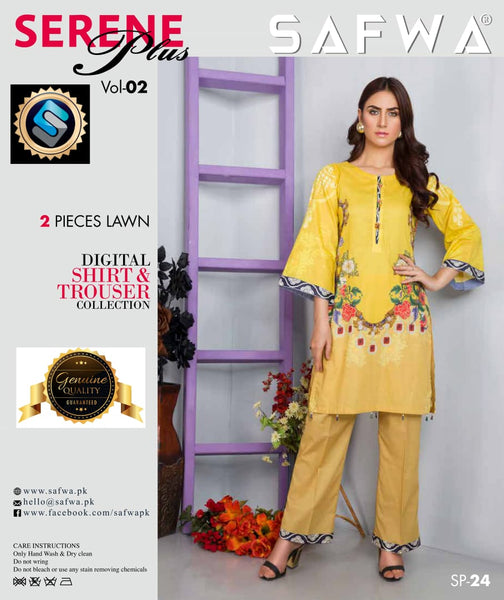 SP-24-SAFWA PREMIUM LAWN-SERENE PLUS COLLECTION-DIGITAL 2 PIECE - Safwa-Pakistani Dresses-Dresses-Kurti-Shop Online