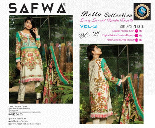 BC-24 - BELLA COLLECTION - 3 PIECE SUIT 2019-Three Piece Suit-SAFWA -SAFWA Brand Pakistan online shopping for Designer Dresses| SAFWA| DRESS| DESIGN| DRESSES| PAKISTANI DRESSES