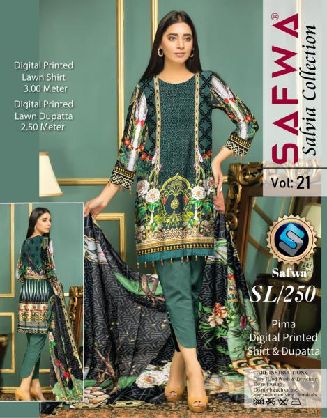 SL-250-SAFWA LAWN-SALVIA COLLECTION- PRINTED -2 PIECE DRESS - Safwa |Dresses| Pakistani Dresses| Fashion|Online Shopping