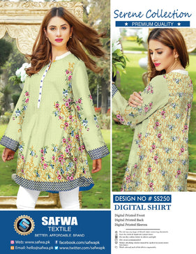 SS-250 - SAFWA PREMIUM LAWN - SERENE COLLECTION - DIGITAL  - SHIRTS