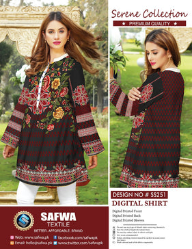 SS-251 - SAFWA PREMIUM LAWN - SERENE COLLECTION - DIGITAL  - SHIRTS
