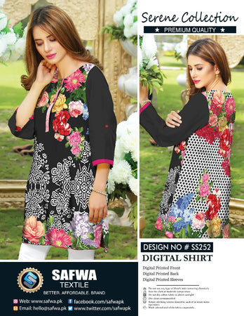 SS-252 - SAFWA PREMIUM LAWN - SERENE COLLECTION - DIGITAL  - SHIRTS