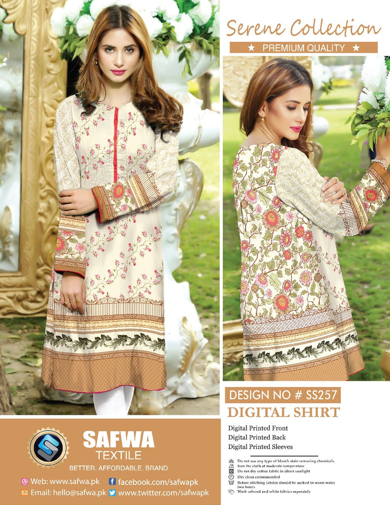 SS-257 - SAFWA PREMIUM LAWN - SERENE COLLECTION - DIGITAL  - SHIRTS