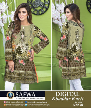 DKK025- SAFWA DIGITAL KHADDAR -PRINT KURTI COLLECTION - SHIRT - KURTI - KAMEEZ
