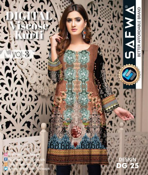 DG-25 - SAFWA - DIGITAL SHIRT - KURTI - VISCOSE KAMEEZ -SAFWA DRESS DESIGN, DRESSES, PAKISTANI DRESSES,-Shirt-Kurti-SAFWA Textile -SAFWA Brand Pakistan online shopping for Designer Dresses