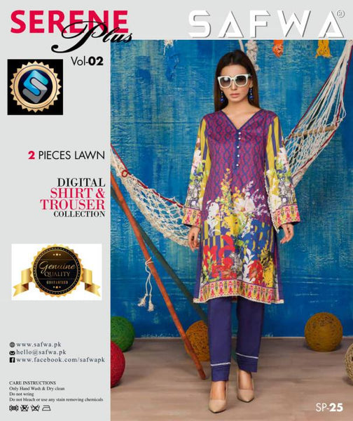 SP-25-SAFWA PREMIUM LAWN-SERENE PLUS COLLECTION-DIGITAL 2 PIECE - Safwa-Pakistani Dresses-Dresses-Kurti-Shop Online