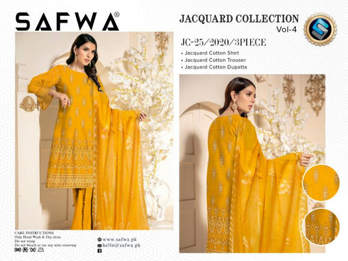 JC-25-SAFWA JACQUARD KARANDI/COTTON COLLECTION-3 PIECE DRESS - Safwa |Dresses| Pakistani Dresses| Fashion|Online Shopping