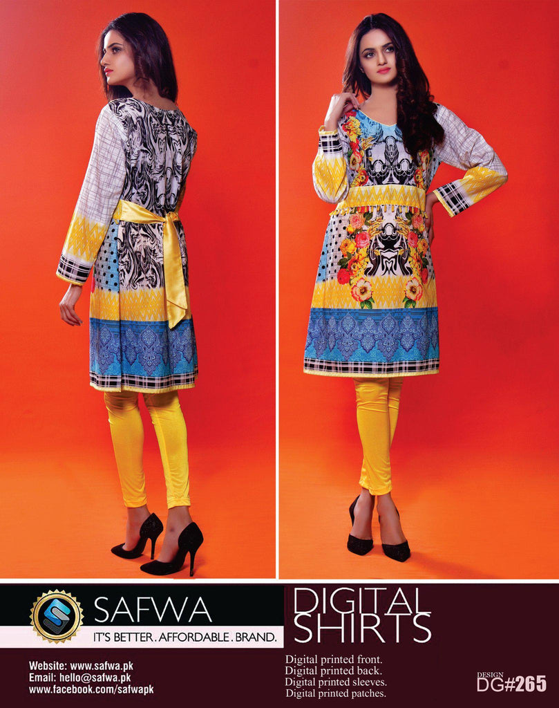 SAFWA DIGITAL PRINT KURTI COLLECTION - DG265 - SHIRT KURTI KAMEEZ - COTTON, Shirt-Kurti, SAFWA, SAFWA Brand - Pakistani Dresses | Kurtis | Shalwar Kameez | Online Shopping | Lawn Dress