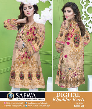 DKK026- SAFWA DIGITAL KHADDAR -PRINT KURTI COLLECTION - SHIRT - KURTI - KAMEEZ