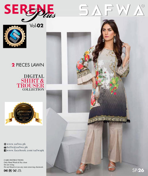 SP-26-SAFWA PREMIUM LAWN-SERENE PLUS COLLECTION-DIGITAL 2 PIECE - Safwa-Pakistani Dresses-Dresses-Kurti-Shop Online