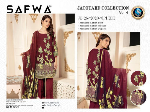 JC-26-SAFWA JACQUARD KARANDI/COTTON COLLECTION-3 PIECE DRESS - Safwa |Dresses| Pakistani Dresses| Fashion|Online Shopping