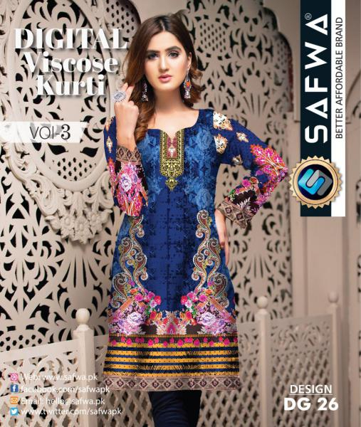 DG-26 - SAFWA - DIGITAL SHIRT - KURTI - VISCOSE KAMEEZ -SAFWA DRESS DESIGN, DRESSES, PAKISTANI DRESSES,-Shirt-Kurti-SAFWA Textile -SAFWA Brand Pakistan online shopping for Designer Dresses