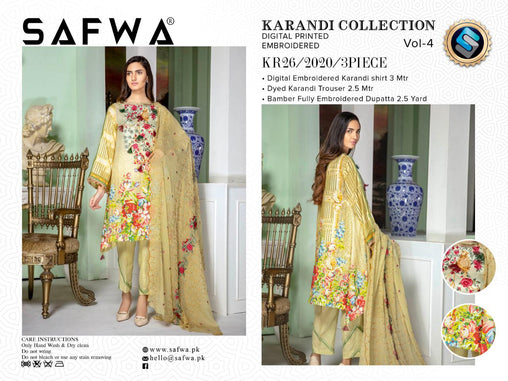 KR 26 - SAFWA DIGITAL KHADDAR 3 PIECE  PRINT COLLECTION -SHIRT Trouser and Duptta |SAFWA DRESS DESIGN| DRESSES| PAKISTANI DRESSES| SAFWA -SAFWA Brand Pakistan online shopping for Designer Dresses