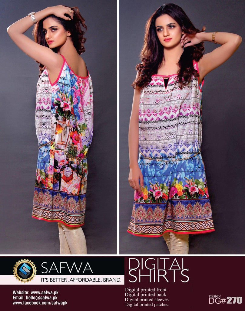 SAFWA DIGITAL PRINT KURTI COLLECTION - DG270 - SHIRT KURTI KAMEEZ - COTTON, Shirt-Kurti, SAFWA, SAFWA Brand - Pakistani Dresses | Kurtis | Shalwar Kameez | Online Shopping | Lawn Dress