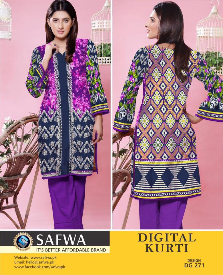 SAFWA DIGITAL PRINT KURTI COLLECTION - DG271 - SHIRT KURTI KAMEEZ - COTTON, Shirt-Kurti, SAFWA, SAFWA Brand - Pakistani Dresses | Kurtis | Shalwar Kameez | Online Shopping | Lawn Dress
