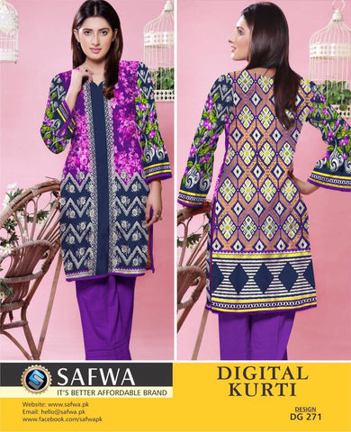 SAFWA DIGITAL PRINT KURTI COLLECTION - DG271 - SHIRT KURTI KAMEEZ - COTTON