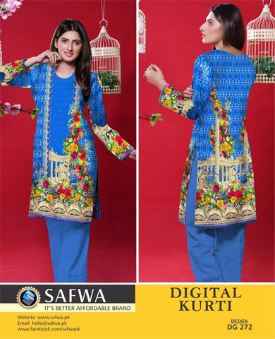 SAFWA DIGITAL PRINT KURTI COLLECTION - DG272 - SHIRT KURTI KAMEEZ - COTTON