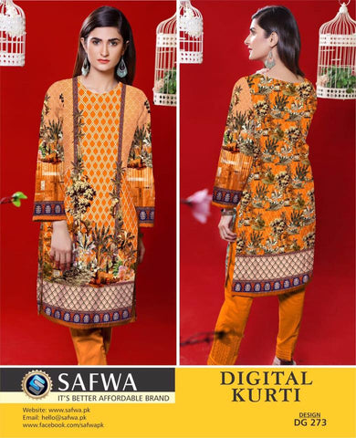 SAFWA DIGITAL PRINT KURTI COLLECTION - DG273 - SHIRT KURTI KAMEEZ - COTTON