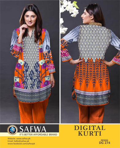 SAFWA DIGITAL PRINT KURTI COLLECTION - DG274 - SHIRT KURTI KAMEEZ - COTTON