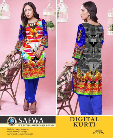 SAFWA DIGITAL PRINT KURTI COLLECTION - DG275 - SHIRT KURTI KAMEEZ - COTTO
