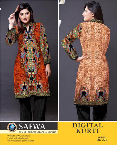 SAFWA DIGITAL PRINT KURTI COLLECTION - DG276 - SHIRT KURTI KAMEEZ - COTTO