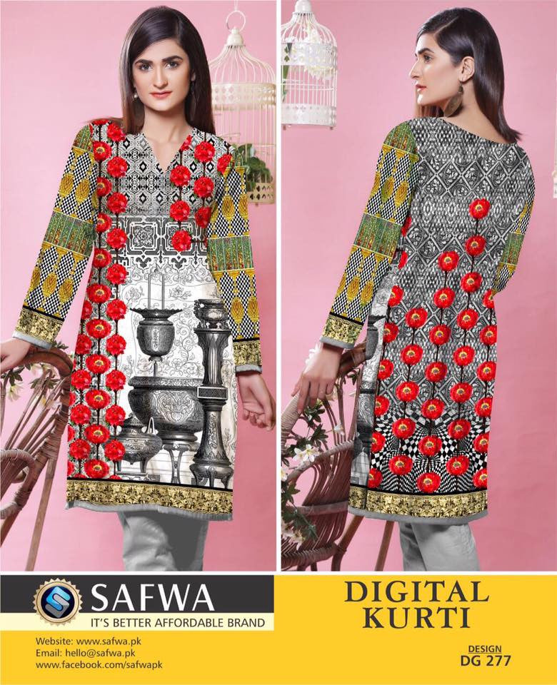 SAFWA DIGITAL PRINT KURTI COLLECTION - DG277 - SHIRT KURTI KAMEEZ - COTTON, Shirt-Kurti, SAFWA, SAFWA Brand - Pakistani Dresses | Kurtis | Shalwar Kameez | Online Shopping | Lawn Dress
