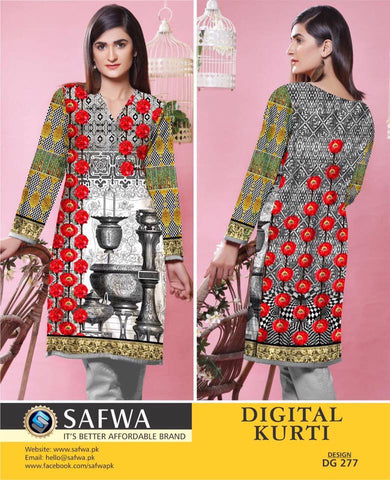 SAFWA DIGITAL PRINT KURTI COLLECTION - DG277 - SHIRT KURTI KAMEEZ - COTTON