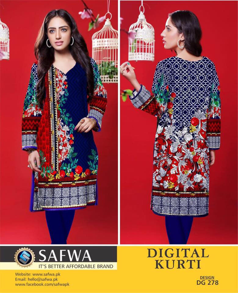 SAFWA DIGITAL PRINT KURTI COLLECTION - DG278 - SHIRT KURTI KAMEEZ - COTTON, Shirt-Kurti, SAFWA, SAFWA Brand - Pakistani Dresses | Kurtis | Shalwar Kameez | Online Shopping | Lawn Dress