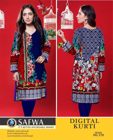 SAFWA DIGITAL PRINT KURTI COLLECTION - DG278 - SHIRT KURTI KAMEEZ - COTTON