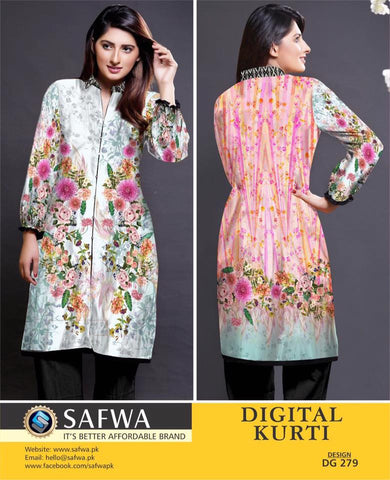 SAFWA DIGITAL PRINT KURTI COLLECTION - DG279 - SHIRT KURTI KAMEEZ - COTTON