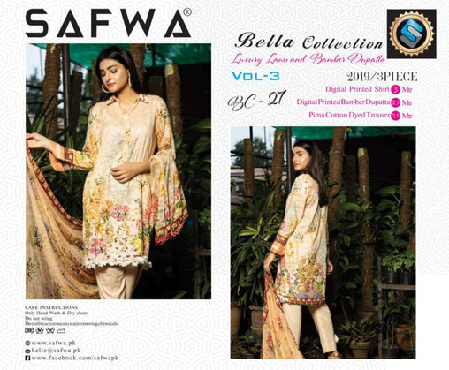 BC-27 - BELLA COLLECTION - 3 PIECE SUIT 2019-Three Piece Suit-SAFWA -SAFWA Brand Pakistan online shopping for Designer Dresses| SAFWA| DRESS| DESIGN| DRESSES| PAKISTANI DRESSES