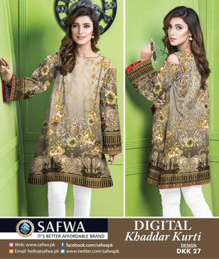 DKK027- SAFWA DIGITAL KHADDAR -PRINT KURTI COLLECTION - SHIRT - KURTI - KAMEEZ