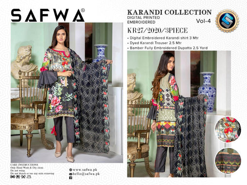 KR 27 - SAFWA DIGITAL KHADDAR 3 PIECE  PRINT COLLECTION -SHIRT Trouser and Duptta |SAFWA DRESS DESIGN| DRESSES| PAKISTANI DRESSES| SAFWA -SAFWA Brand Pakistan online shopping for Designer Dresses