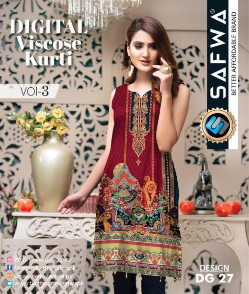 DG-27 - SAFWA - DIGITAL SHIRT - KURTI - VISCOSE KAMEEZ -SAFWA DRESS DESIGN, DRESSES, PAKISTANI DRESSES,-Shirt-Kurti-SAFWA Textile -SAFWA Brand Pakistan online shopping for Designer Dresses