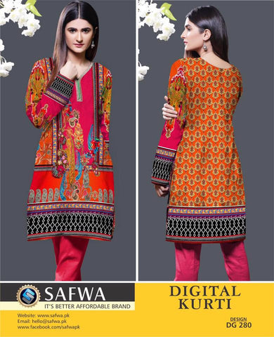 SAFWA DIGITAL PRINT KURTI COLLECTION - DG280 - SHIRT KURTI KAMEEZ - COTTON