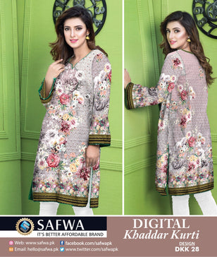 DKK028- SAFWA DIGITAL KHADDAR -PRINT KURTI COLLECTION - SHIRT - KURTI - KAMEEZ