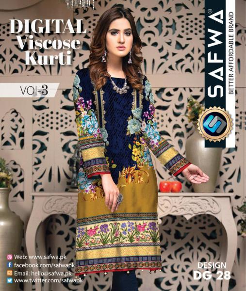 DG-28 - SAFWA - DIGITAL SHIRT - KURTI - VISCOSE KAMEEZ -SAFWA DRESS DESIGN, DRESSES, PAKISTANI DRESSES,-Shirt-Kurti-SAFWA Textile -SAFWA Brand Pakistan online shopping for Designer Dresses