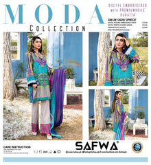 SM-28 - SAFWA DIGITAL EMBROIDERED 3 PIECE MODA COLLECTION -SHIRT Trouser and Duptta |SAFWA DRESS DESIGN| DRESSES| PAKISTANI DRESSES| SAFWA -SAFWA Brand Pakistan online shopping for Designer Dresses