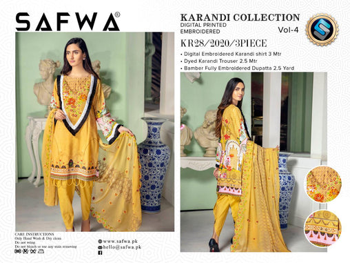 KR 28 - SAFWA DIGITAL KHADDAR 3 PIECE  PRINT COLLECTION -SHIRT Trouser and Duptta |SAFWA DRESS DESIGN| DRESSES| PAKISTANI DRESSES| SAFWA -SAFWA Brand Pakistan online shopping for Designer Dresses