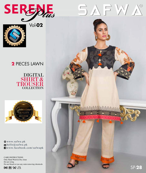 SP-28-SAFWA PREMIUM LAWN-SERENE PLUS COLLECTION-DIGITAL 2 PIECE - Safwa-Pakistani Dresses-Dresses-Kurti-Shop Online