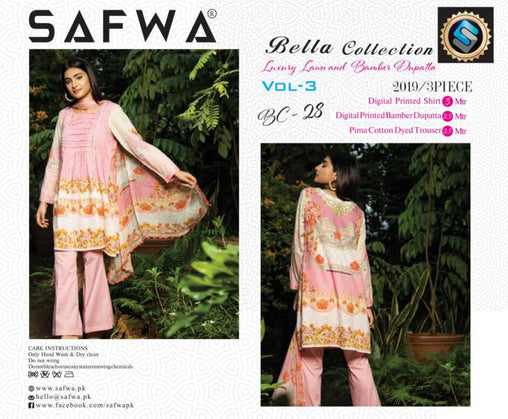 BC-28 - BELLA COLLECTION - 3 PIECE SUIT 2019-Three Piece Suit-SAFWA -SAFWA Brand Pakistan online shopping for Designer Dresses| SAFWA| DRESS| DESIGN| DRESSES| PAKISTANI DRESSES