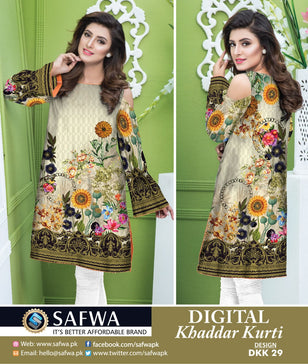 DKK029- SAFWA DIGITAL KHADDAR -PRINT KURTI COLLECTION - SHIRT - KURTI - KAMEEZ
