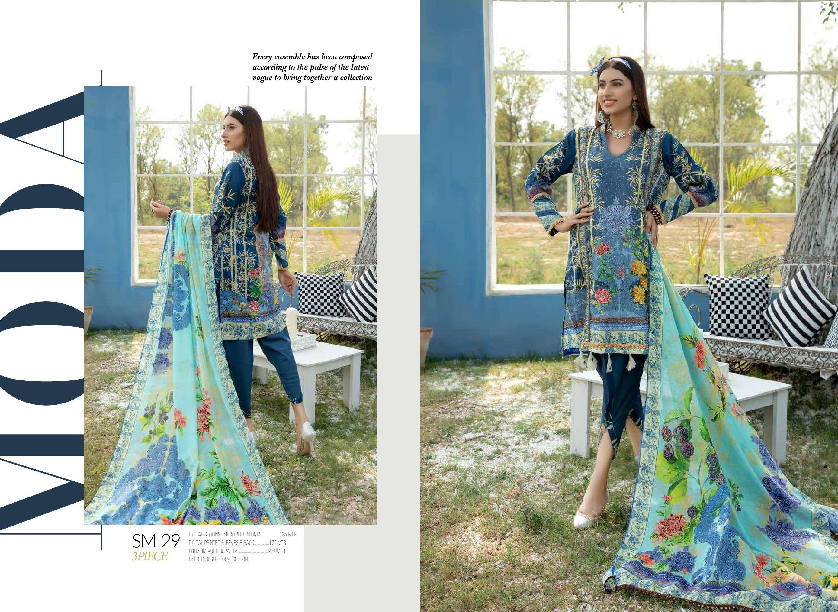 SM-29 - SAFWA DIGITAL EMBROIDERED 3 PIECE MODA COLLECTION -SHIRT Trouser and Duptta |SAFWA DRESS DESIGN| DRESSES| PAKISTANI DRESSES| SAFWA -SAFWA Brand Pakistan online shopping for Designer Dresses