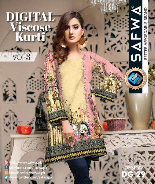 DG-29 - SAFWA - DIGITAL SHIRT - KURTI - VISCOSE KAMEEZ -SAFWA DRESS DESIGN, DRESSES, PAKISTANI DRESSES,-Shirt-Kurti-SAFWA Textile -SAFWA Brand Pakistan online shopping for Designer Dresses