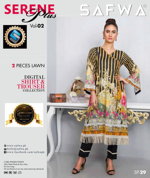 SP-29-SAFWA PREMIUM LAWN-SERENE PLUS COLLECTION-DIGITAL 2 PIECE - Safwa-Pakistani Dresses-Dresses-Kurti-Shop Online