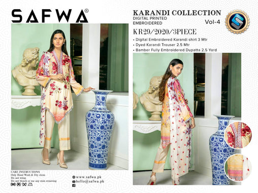 KR 29 - SAFWA DIGITAL KHADDAR 3 PIECE  PRINT COLLECTION -SHIRT Trouser and Duptta |SAFWA DRESS DESIGN| DRESSES| PAKISTANI DRESSES| SAFWA -SAFWA Brand Pakistan online shopping for Designer Dresses