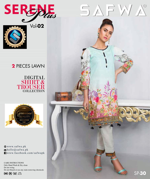 SP-30-SAFWA PREMIUM LAWN-SERENE PLUS COLLECTION-DIGITAL 2 PIECE - Safwa-Pakistani Dresses-Dresses-Kurti-Shop Online