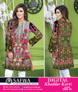 DKK030- SAFWA DIGITAL KHADDAR -PRINT KURTI COLLECTION - SHIRT - KURTI - KAMEEZ